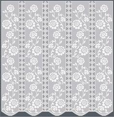 Thread Crochet Curtain Pattern | Tulip Edging & Insertion Free Filet Crochet Pattern