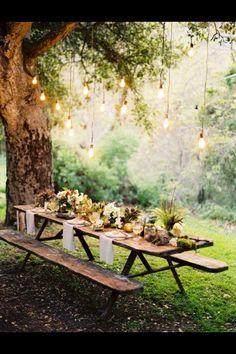 Ferns, succulents, rosemary, birds' nests, names, candles garlands (juniper)