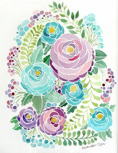 Purple and Blue Flower Watercolor  Painting Print por ladypoppins, $13.00