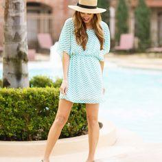 $37 shipped   Hazel and Olive turquoise chevron dress  www.hazelandolive.com