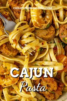 This Cajun pasta recipe is loaded with shrimp and smoked andouille sausage, with lots of flavorful Cajun seasonings, so easy to make, a perfect weeknight dinner! Smoked Sausage Recipes, Spicy Chicken Recipes, Cajun Recipes, Pasta Dinner Recipes, Lunch Recipes, Etouffee Recipe, Creole Recipes, What's Cooking, Comfort Foods
