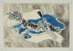 Marie TOYEN (1902-1980) & Jindrich STYRSKY (1899-1942)  Composition. Encre et aquarelle, signée en bas à gauche. 12 x 17 cm. Projet d'illustration pour Les Chants de Maldoror.