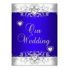 Royal blue Wedding Silver White Diamond Hearts Custom Announcement