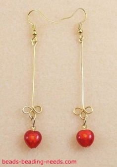 How to Make Beautiful Red Heart Earrings. Step by Step earring instructions using a wig jig to create these elegant handmade beaded earrings.