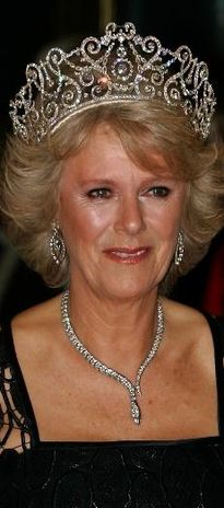 Delhi Durbar Tiara , third configuration without emeralds or cullinan diamonds,  and the Serpent and Diamond Necklace worn by the duchess of Cornwall
