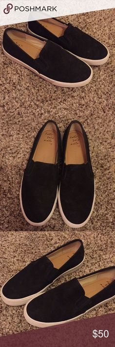 Banana Republic Black and White Slip-on Sneaker Excellent condition! Size 6 1/2. I normally wear a size 7 in heels and 6 1/2 in flat shoes  It feels like a leather suede texture if that makes sense. It feels like a smooth leather with suede in it. Banana Republic Shoes Sneakers