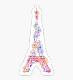 flowered eiffel tower sticker