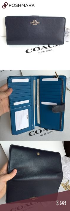 Coach Wallet Coach Wallet, new with tag. Color Navy/Peacock  Coach Bags Wallets