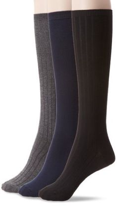 de6778cfa53 Nine West Women s Textured Rib And Solid Flat Knit Knee High 3 Pair Sock