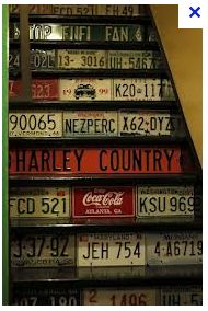 license plates on stair risers