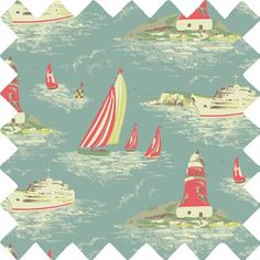 This classic print represents scenes of the English seaside, a great pattern for summer and outdoors.   This fabric is ideal for use as: *Curtains *Cushion Covers *Craft *Upholstery.Click here to view the fabric buying guide