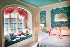 Cute and easy idea for the blue wall behind the bed!  I found the tutorial check here http://www.cre8tivedesignsinc.com/2012/02/easy-wallpaper-panel/.