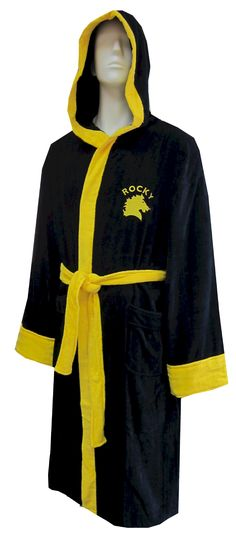 Rocky Balboa The Italian Stallion Hooded Black Terry Velour Robe    If you are a Rocky fan, this is the robe you have been waiting for! These ultra soft 100% cotton terry velour Rocky robes for men have an embroidered Rocky logo on the front and a large satin logo on the back. Front pockets, no interior tie. Very luxurious. One size fits most.