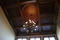 Coffered Ceiling.  We did an office ceiling with an oval in it....awesome!