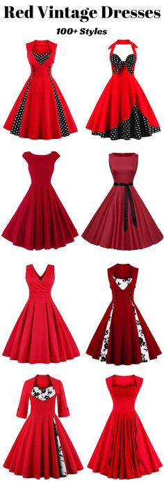 100+ Vintage Dresses in Red | Up to 70% off now | #christmas #vintagedress #partydress #promdress
