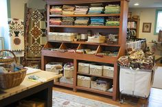 beautiful old storage furniture from the studio of Laundry Basket Quilts