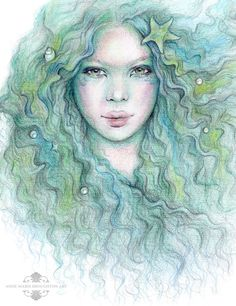 8x10 inch SIGNED From The Sea Dreamy Mermaid Art Print Pastel Green Colour Pencil Drawing Starfish Pearls Shells