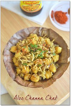 Indian recipes....Aloo Channa Chat Recipe from Sharmis Passions