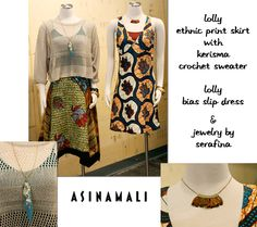 Lolly bias slip dress and ethnic print skirt, Kerisma crochet sweater, and handmade feather jewelry by Serafina.