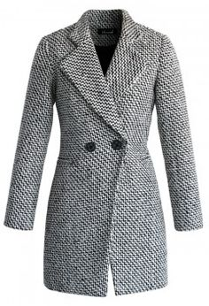 Classy Double Breasted Tweed Coat - Retro, Indie and Unique Fashion