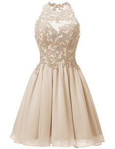 Dresstells Short Prom Dress Chiffon Applique Bridesmaid Homecoming Dress Champagne Size 18W * More info could be found at the image url.