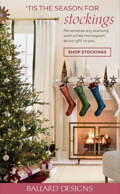 During the holidays, the fireplace is the heart of the home — with Santa coming down the chimney & all. Find stylish stockings to spruce things up before he gets here, plus FREE monogram. #ballarddesigns #holidaystockings #holidayhomedecor #monogramstocking