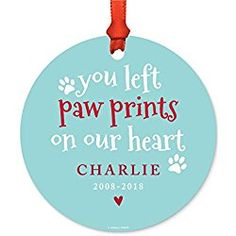 Personalized Christmas Memorial Dog Ornament, You Left Paw Prints on Our Heart, Charlie, 2008-2018, 1-Pack, Includes Ribbon and Gift Bag, Custom Name