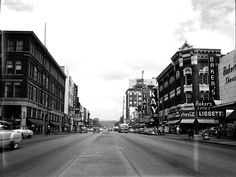 Market Street facing north. Liggett Drugs, Baker Shoes, State Theatre, J.C.Penney, Sears, Haverty's, Planters Peanuts and more, 1955