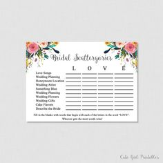 Scattergories Game - Floral Scattergories - Game - White Bridal Shoer - Printable Bridal Shower Scattergories Game - Floral Bridal 0001W