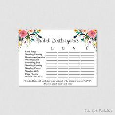 Scattergories Game - Floral Scattergories - Game - White Bridal Shoer - Printable Bridal Shower Scattergories Game - Floral Bridal 0001W