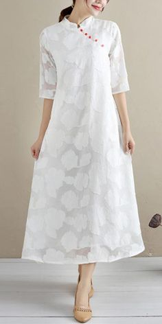 Chic Stand Collar Summer Clothes For Women Work White Cut flowers Loose Dresses Casual Summer Dresses, Summer Dresses For Women, Chiffon, White Linen Dresses, Loose Dresses, Autumn Casual, Spring Design, Summer Maxi, Summer Blouses