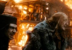 Alfrid and the Master of Lake-town in a Lake-town inferno. - What you can expect in The Hobbit: The Battle of Five Armies Second Teaser Trailer.