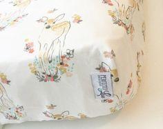 Floral Deer Crib Sheet Woodland Nursery by PerfectlyLouDesigns