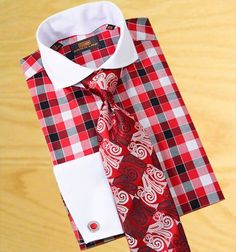 Steven Land Red / Black / White Checkerboard Design With White Spread Collar / White French Cuffs 100% Cotton Dress Shirt DS 1090