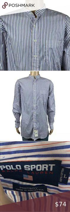 Men/'s Irish Grandfather Blue and White Stripe Banded Collar Shirt