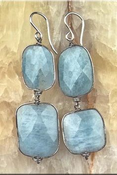 Sunlit Sea.  Double Drop Flat Faceted Milky Aquamarine Earrings.  Wire Wrapped Spring Blue Gemstone. $145.00, via Etsy.