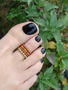 Toe Ring  Pumpkin Spice  Orange  Gold  Copper  Stretch Bead Toe Ring by FancyFeetBoutique, $5.50