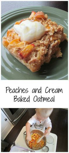 Peaches and Cream Baked Oatmeal - A delicious and healthy start to your day! Breakfast just got a little tastier with this fabulous easy recipe. and Cream Baked Oatmeal - A delicious and healthy start to your day! Breakfast just got a little tastier with Peach Baked Oatmeal, Baked Oatmeal Recipes, Baked Peach, Baked Oats, Peach Oatmeal Muffins, Brunch Dessert Recipe, Easy Brunch Recipes, Healthy Breakfast Recipes, Breakfast Ideas