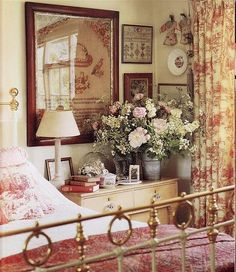 English Country Bedroom...warm, cozy, love the colors. Give me a cup of tea and a book!