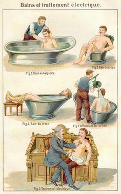 "Illustrations from a French edition of Friedrich Eduard Bilz's 1888 naturopathic medicine guide ""Das Neue Naturheilverfahren""."
