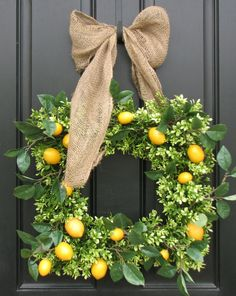 Three of my favorites.. Citrus, square wreaths and burlap. You can't miss.