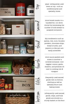 Great Pantry tips for organizing from top to bottom! I want my pantry to be like this! And love the vintage looking storage boxes too