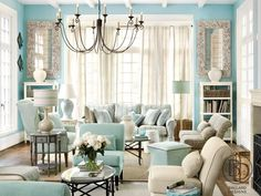 Bright Blue Living Room With Cream Accents