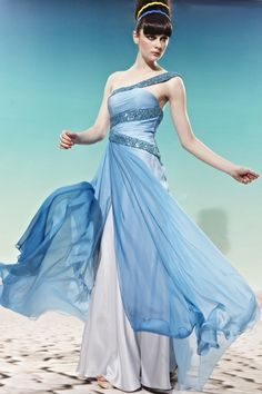 Blue One-shoulder Sequins Tencel Formal Bridesmaid Dress WL883