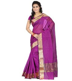 Purple Zari Work Chanderi Cotton Silk Saree #indianroots #saree #chanderi #silk #cotton #zariwork #summerwear #eveningwear #partywear