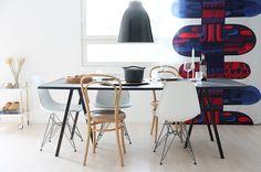 hunajaista kitchen home decoration sisustus koti marimekko saivu Dining Chairs, Dining Table, Marimekko, Loft, Interior, Kitchen, Furniture, Decoration, Home Decor