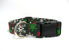 Adjustable Dog Collar  Green Red and White Snowflake   by MuttsandMittens