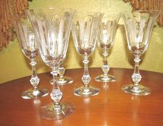 """Set of Six (6) Cut Crystal Stems Goblets, 8 1/4"""" Tall, Gorgeous!"""