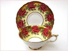 Vintage Paragon Red Roses Yellow & Gold Cup And Saucer