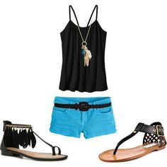 Blue shorts make this outfit pop